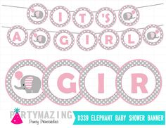 New from Partymazing on Etsy: Elephant Printable Banner It's a Girl Banner Pink Elephant DIY Party Banner chevron Instant download  D339 (5.00 USD) For more @partymazing