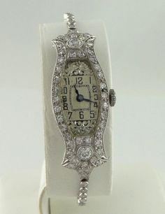 """LADIES VINTAGE ART DECO PLATINUM 1 1/2ct DIAMOND BIG GUARD 15 JEWEL WATCH 5 3/4""""…"""