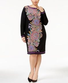 Inc International Concepts Plus Size Paisley-Print Sheath Dress, Only at Macy's - Black 1X