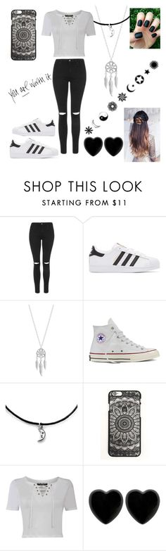 """""""Black and White"""" by bethie3313 ❤ liked on Polyvore featuring Topshop, adidas Originals, Lucky Brand, Converse, Pilot and Dollydagger"""