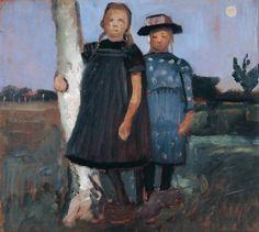 "Paula Modersohn-Becker: ""Zwei Mädchen an einem Birkenstamm stehend"" Paula Modersohn Becker, Female Painters, Painting People, Woman Painting, Girl Standing, Collaborative Art, Sculpture, Oil Painting On Canvas, Canvas Paintings"
