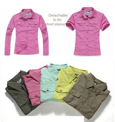 2014 Women Outdoor Shirt/Pant Detachable Breathable Quick Dry Anti-UV Sportswear Fishing Camping Hiking Trekking Summer Spring