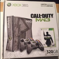 Xbox 360 Mint condition straight out of the box. My boyfriend bought it and used it twice. One remote is missing along with the call of duty game. This Xbox has more memory space then others because it is limited edition. Other