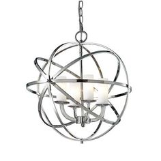 Z-Lite Aranya Chrome Pendant Light Modern/Contemporary White Glass Pendant Light at Lowe's. Orbiting metal bands circle the contemporary inner chandelier. This family is made up of round and oval shapes finished in Chrome finishes complimented Modern Pendant Light, Glass Pendant Light, Glass Pendants, Globe Chandelier, Chandelier Lighting, Bathroom Chandelier, Crystal Chandeliers, Chrome Finish, Living Room
