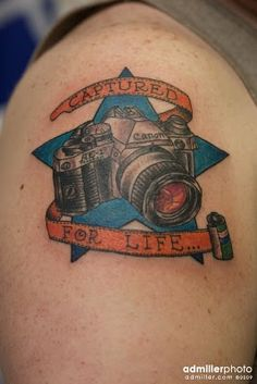 if only it were a Nikon with Kodak film. This is a Canon with Fuji film Camera Tattoo Design, Camera Tattoos, Star Tattoo On Shoulder, Kodak Film, Tattoo Photography, Top Tattoos, Tattoo Images, Picture Tattoos, Fujifilm