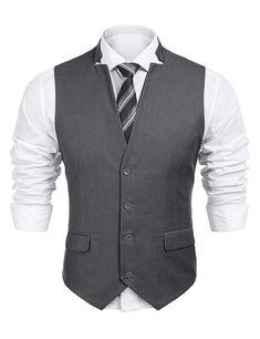 86b23d7fbac371 COOFANDY Men's Business Suit Vest Notched Lapel Slim Fit Dress Waistcoat  for Wedding Events Graduation Prom