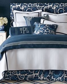 Scalamandre Maison by Eastern Accents Haveford Bleu Bedding features Scalamandre resist print, indigo