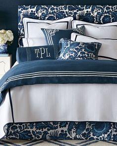 Scalamandre Maison by Eastern Accents Haveford Bleu Bedding features Scalamandre resist print, indigo