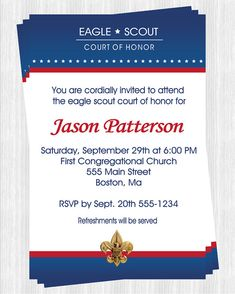 Eagle scout invitation template free for Eagle scout court of honor program template