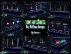 Strange and mysterious artefacts from a distant galaxy. Probably highly radioactive, but your Sims will love them anyway. TSRAA Found in TSR Category 'Objects' Sims 2 Games, Sci Fi Games, Sims 4 Anime, Galaxy Lights, Bright Color Schemes, Neon Lamp, Electronic Art, Alien Planet, Space Aliens