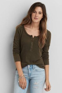 $29.95 not in this colour, in lead AEO Waffle Henley  by AEO | Your