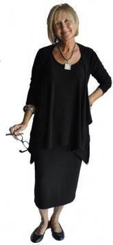 Sympli sleeveless mimic tunic over midi skirt with urban cardiga