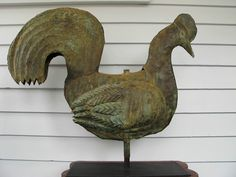 Exceptional Early Antique 19th C Folk Art Rooster Weather-vane