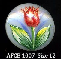 Hand painted Czech glass button raised red by buttonsandshanks, $10.00