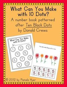 """Practice numbers with this fun number book patterned after """"Ten Black Dots"""" by Donald Crews"""
