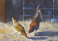 Barn Chickens, 5x7 Oil on Canvas, painting by artist Carmen Beecher