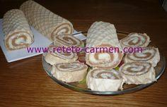 Rulada de napolitane cu strat de bisuciti si crema de nuca de cocos Biscuit, Caramel, Dairy, Cheese, Cooking, Food, Image, Pain Au Chocolat, Cream