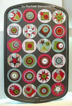 Mini-Muffin Pan (Re-Usable) Advent Calendar- Try using Shutterfly's 2x2 magnets
