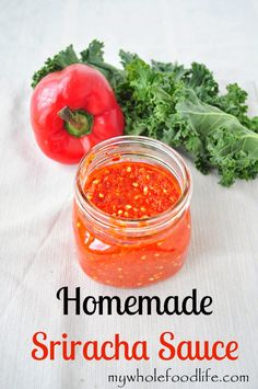 Homemade Sriracha Sauce.  This popular sauce is easy to make with none of the preservatives.  #vegan #glutenfree #sriracha
