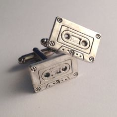 Men's Pair of Silver 80s 90s Music Cassette Tape by Lynx2Cuffs, $19.99
