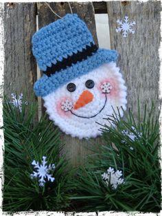 "Snowman Christmas Ornament, Crochet Snowman, Snowmen, Christmas Tree, Package Tie On, Gift Tag, Party Favor, OFG FAAP, Includes 1 ornament ~ measures 3.75"" x 5.25"" ~ CROCHET"