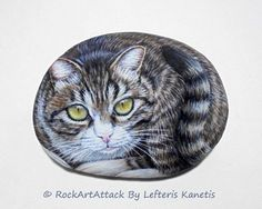 Hand Painted Stone Cat  Is Painted with high by RockArtAttack