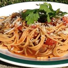 Use whole wheat pasta and add some marinated grilled chicken to Pasta Pomodoro Recipe - Allrecipes.com - AWESOME!!