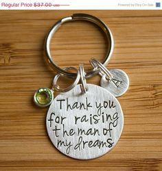 SALE Thank You for Raising the Man of My by TagYoureItJewelry