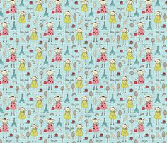 Bonjour Lapin fabric by heatherdutton on Spoonflower - custom fabric  use for throw and floor pillows....