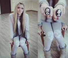 Zara Worn Distressed Jumper, Paisley Ugg Boots, Talli Weijl Selfmade Lace Skull Knee Patch Grey Pants, Skeleton Bride And Groom Cameo Rings