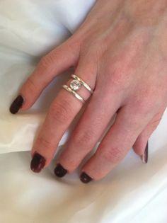 Sterling zilveren CZ Ring - gehamerd - Gemstone - Valentine