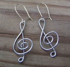 Treble Clef Wire Earrings - I couldn't decide whether to put these in the my style section or as a craft idea.
