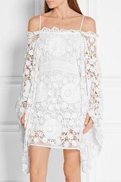 Chloé | Off-the-shoulder crocheted cotton mini dress | NET-A-PORTER.COM