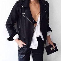 black leather jacket + white shirt | HarperandHarley