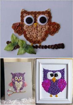 DIY Button Owl Art
