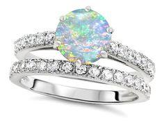 Original Star K(tm) Round 7mm Created Opal Engagement Wedding Ring: Star K: Jewelry
