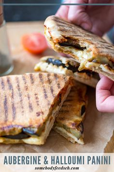 We love a good toastie here at Somebody Feed Seb. Our Aubergine Parmigiana-inspired grilled is one of our favourite lunches of all times! A real vegetarian treat, our Aubergine & Halloumi Panini features layers of rich tomato paste, squeaky salty halloumi and slightly charred aubergine rounds. We'll show you how we make it without a panini maker as well. #vegetariansandwich #eggplantrecipes #aubergine Caramelised Onion Chutney, Panini Maker, Chilli Paste, Grilled Sandwich, Eggplant Recipes, Halloumi, Tomato Paste, Lunches, Vegetarian Recipes