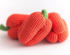 1 Pcs - Crochet pepper,  crocheted vegetables, teether teeth, play food, kitchen decoration, eco-friendly toys (6m+)