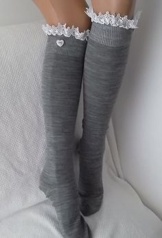 Grey Socks  Boot socks boot cuffs leg warmers by CarnavalBoutique,