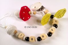 Schnullerketten - Schnullerkette für Jungs mit Fliegenpilz gehäkelt - ein Designerstück von ENO-BUBI bei DaWanda