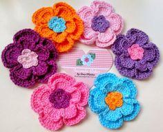 Cute crochet flowers Tecendo Artes em Crochet: Flores Cut com o Gráfico!