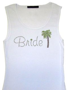 Palm Tree Rhinestone Bridal Party Tank Top by RegalRhinestones
