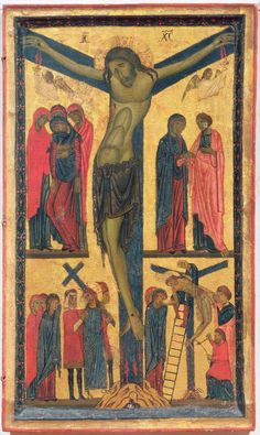 bonaventura berlinghieri, the crucifixion with holy women, mourners, christ on the road to calvary and the deposition