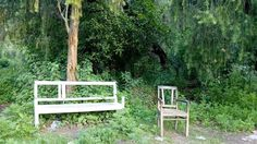 Beautiful vantage recreation park image,two old broken chairs   Stock Photo   Colourbox on Colourbox