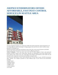 Ampm exterminators offers affordable, fast pest control services in seattle area
