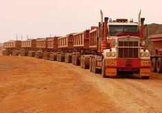 Road Train ( imagine the horse power in that's in that gargantuan truck ? ) The truck driver uncoupled the 'carriages' and his only speed limit on a track at the weekend off time, is how much pressure the tyres can take ‼️✅ Big Rig Trucks, Dump Trucks, Cool Trucks, Mack Trucks, Peterbilt, Kenworth Trucks, Train Truck, Road Train, Pt Cruiser