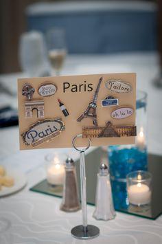 Wedding Table Cards Ideas Travel Themes 17 New Ideas Wedding Table Names, Card Table Wedding, Wedding Reception Decorations, Wedding Themes, Wedding Designs, Our Wedding, Paris Wedding, Trendy Wedding, Wedding Ideas