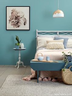 Hygge at heart - teal bedroom | Colour inspiration  A minimal and restful space that is pared down to the un-fussy essentials, this relaxing-looking bedroom seems to embody the principle of hygge right to its core. A Nordic blue green, Resene Juniper is a shade that falls firmly in the in the category of hues that evoke a sense of serenity. This relaxed and tranquil colour been used on the walls to set the mood for the entire space. Blue Green Bedrooms, Bedroom Green, Green Rooms, Bedroom Colors, Bedroom Decor, Bathroom Colours, Dark Grey Carpet Bedroom, Teal Walls, Teal Bedroom Walls