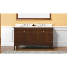 "James Martin Solid Wood 60"" Vivian Mahogany Double Bathroom Vanity 147-527-5161"
