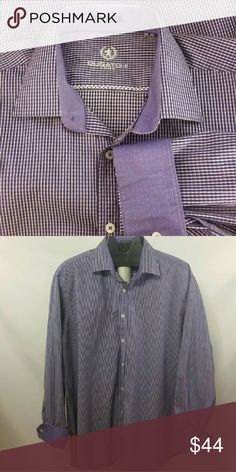 """BUGATCHI Men's Flip Cuff Purple Dress Shirt Sz XL Great pre-owned condition  Tag Size:  XL Measurements (approx.):      Chest/Bust (underarm seam to underarm seam): 26""""      Length (back of neck seam to hem):  33""""      Sleeves (neck seam to cuff):  33.75"""" Fabric: 100% cotton Color:   purple,  white Bugatchi Shirts Dress Shirts"""